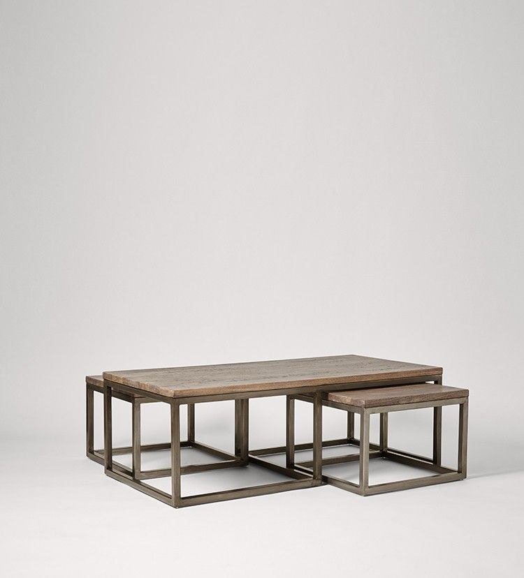 Swoon Editions Coffee table set, Industrial style in Mango Wood and Charcoal - £299