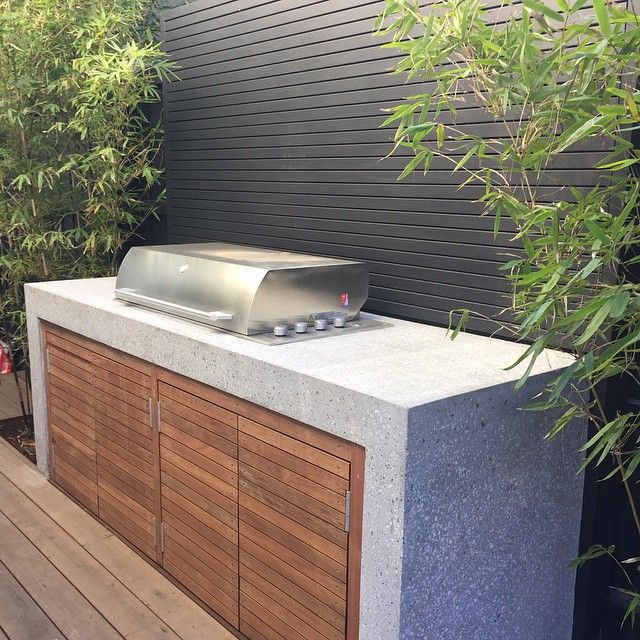 Barbecue Outdoor Kitchen Design: Bbq With Concrete Waterfall.