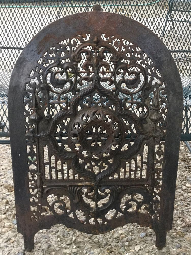 Fireplace Design cast iron fireplace screen : Beautiful Vintage Cast Iron Fireplace Summer Ornate Cover Screen ...