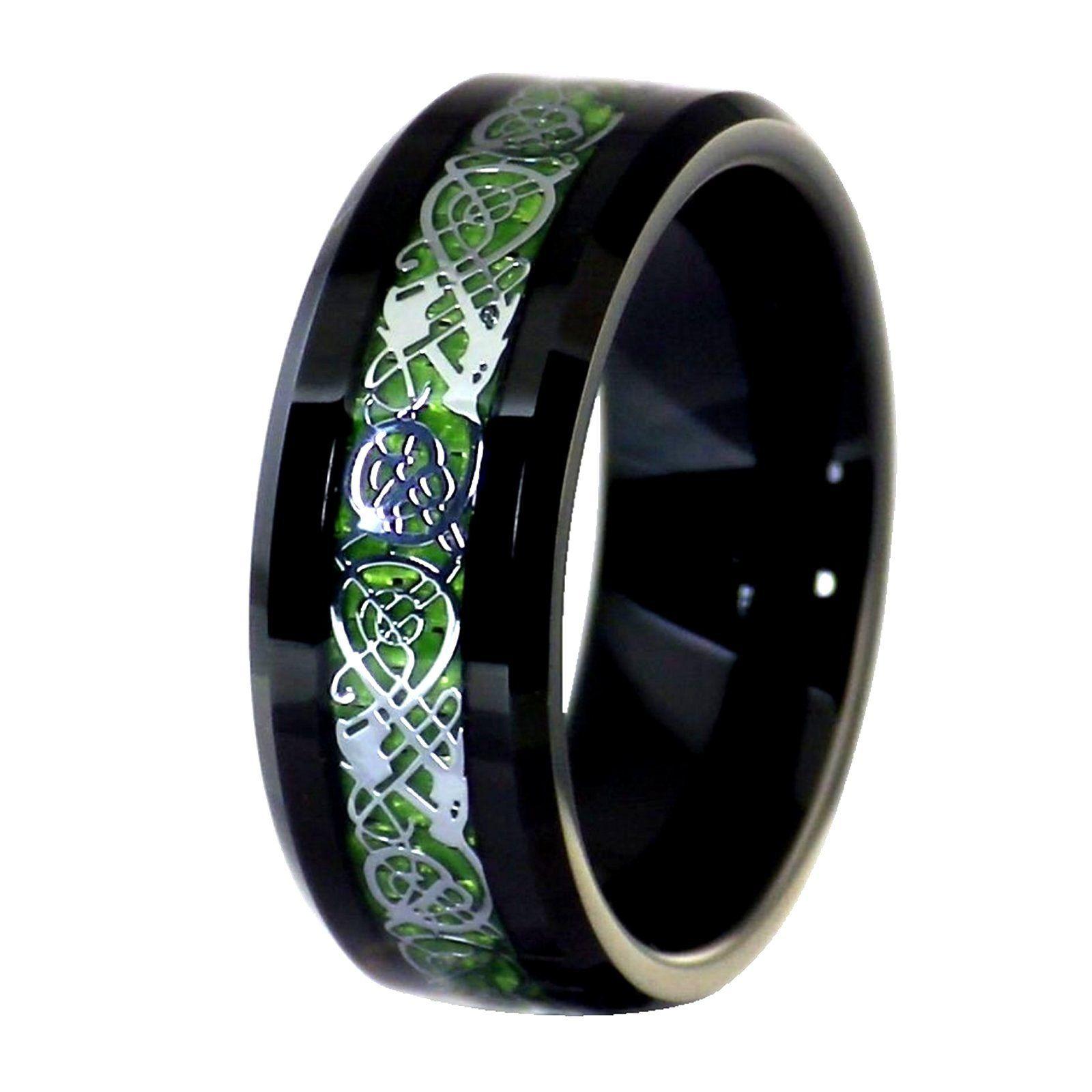 Black Tungsten Silver Tone Viking Dragon Celtic Knot Ring Green