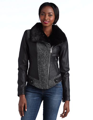Women's Apparel | Leather & Fur | Asymmetrical Zip Mixed-Media Jacket | Lord and Taylor