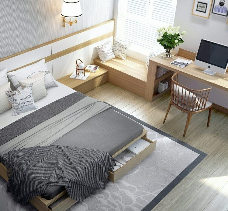 schlafzimmer einrichten bett mit bettkasten und sitzbank zimmer pinterest chambre ado. Black Bedroom Furniture Sets. Home Design Ideas