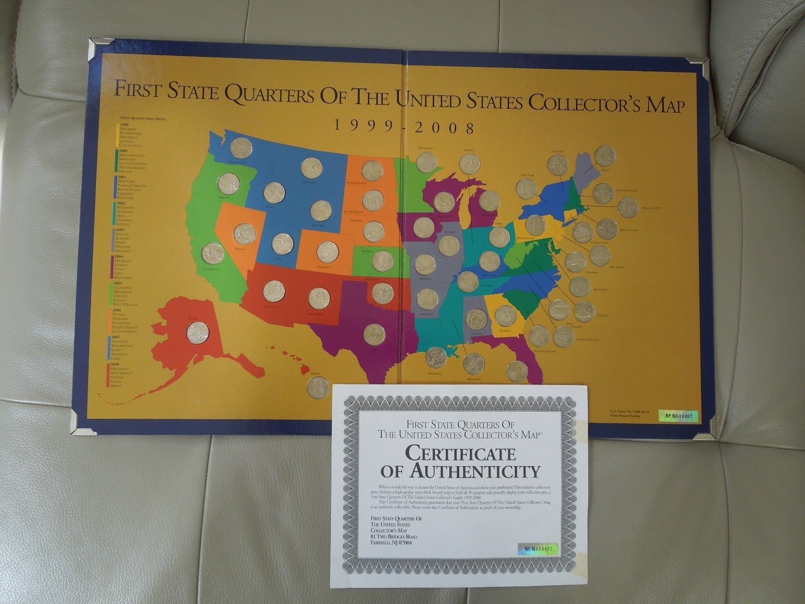 First State Quarters of the United States Collector\'s MAP - COMPLETE ...