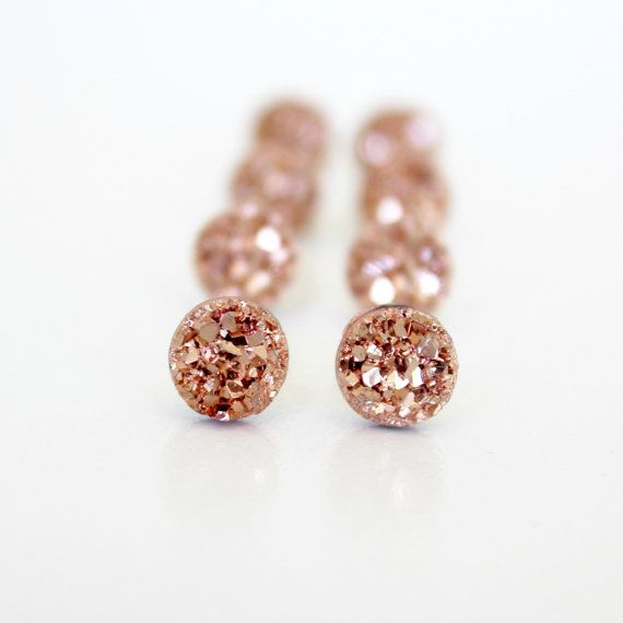 Small faux druzy earrings a dazzling rose gold color on