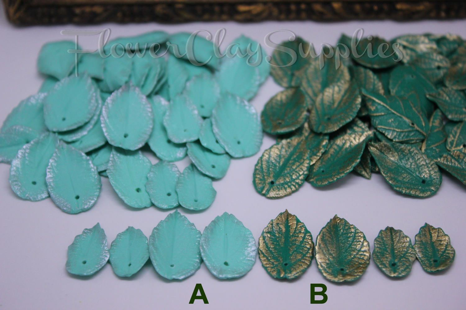 10 pcs Leaves. Double-sided Small and Big leaf beads.  Polymer clay Leaf bead - Jewelry making  - leaf beads - plant beads. di FlowerClaySupplies su Etsy