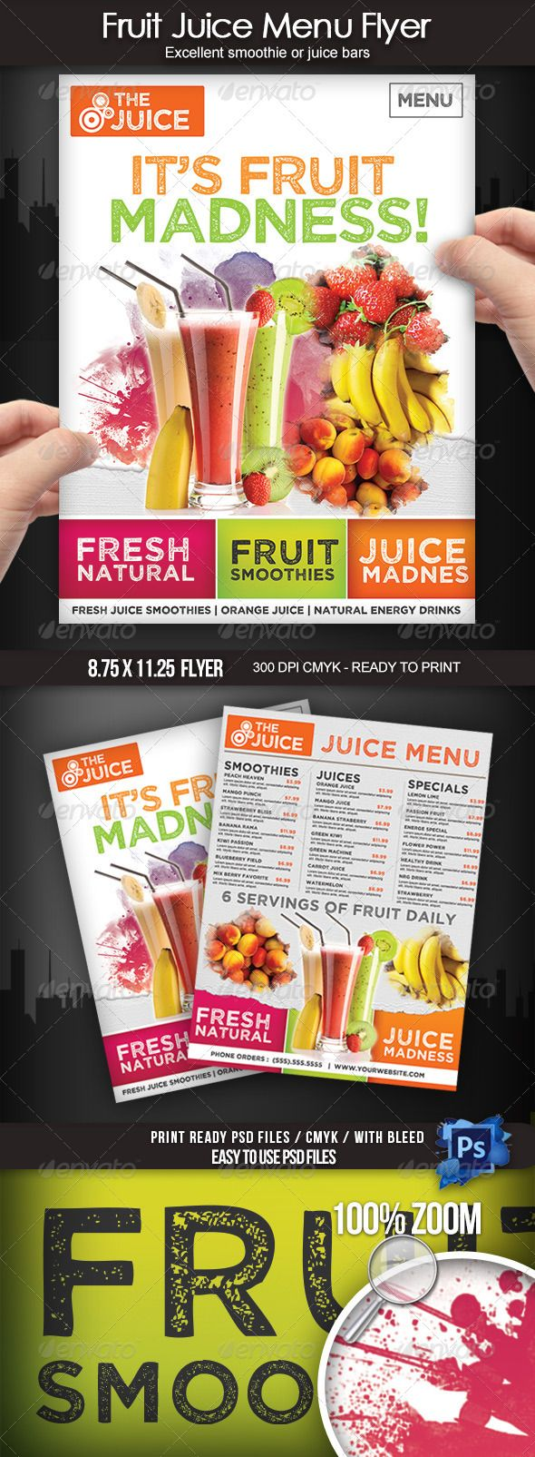 Fruit Juice Menu Flyer Juice Menu Fruit Displays Fruit Shop
