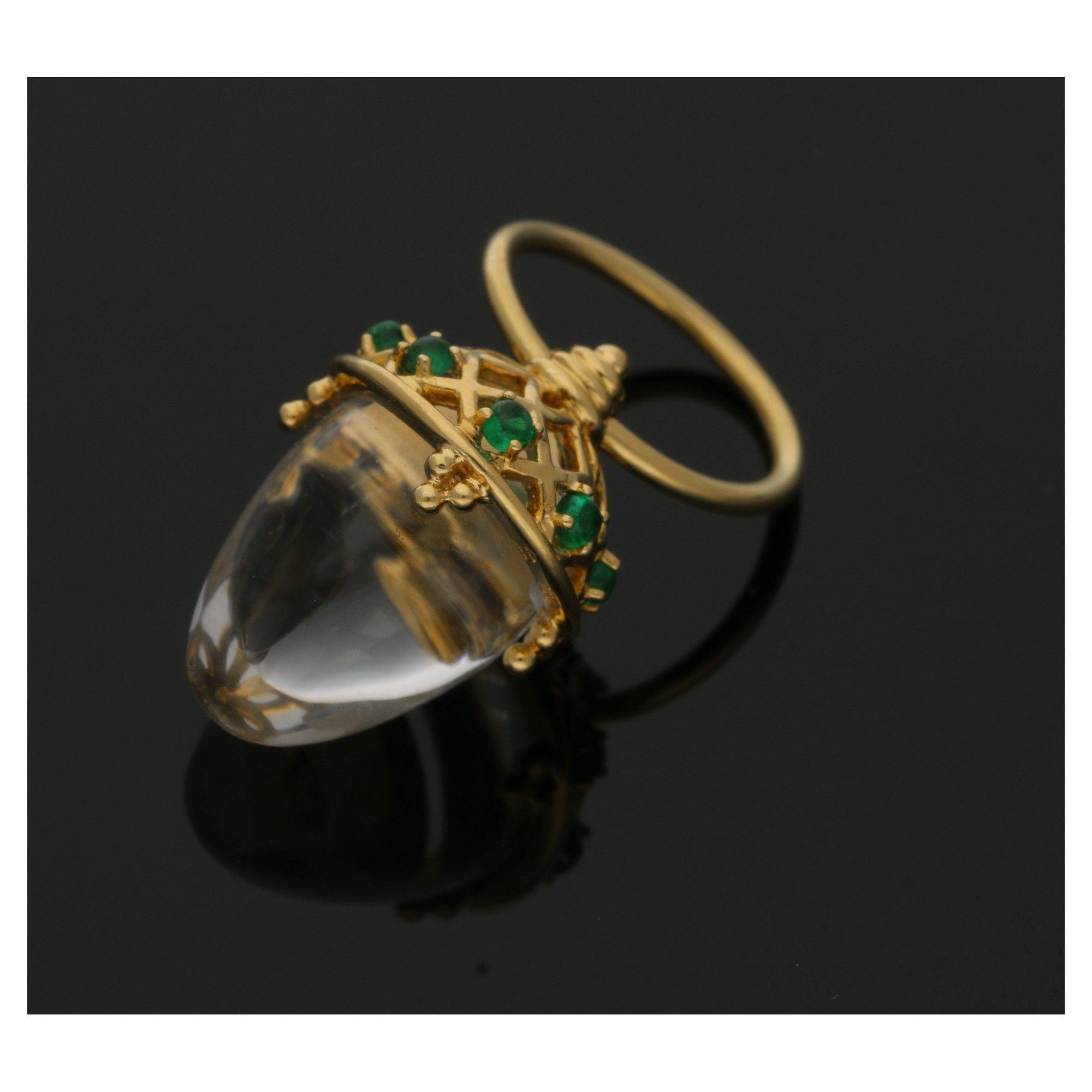 Templestclair rock crystal gold emerald pendant temple st