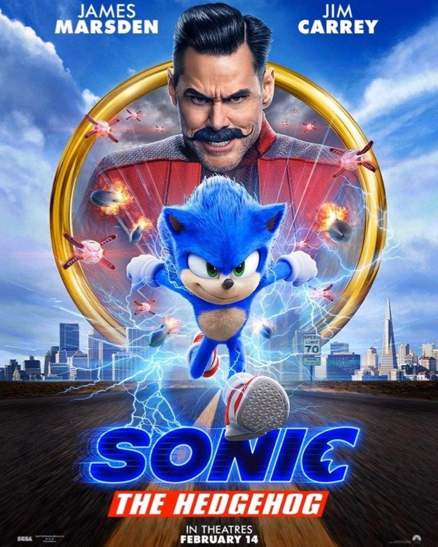 "Sonic The Hedgehog Poster 48x32/"" 40x27/"" 36x24/"" Movie 2019 Jim Carrey Print Silk"