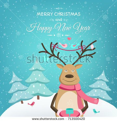 Merry Christmas Happy New Year card template Smiling reindeer