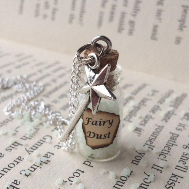 Glow-in-the-Dark Fairy Dust Bottle Necklace / Pendant / Bookmark / Decoration / Keyring by EnchantedBottleCraft on Etsy