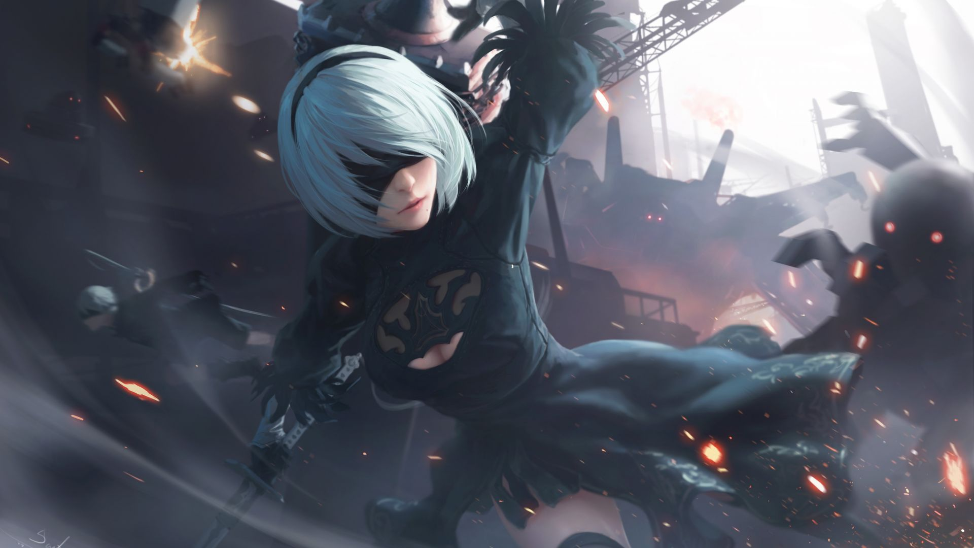 Download Wallpapers Of Nier Automata Artwork 4k Creative Graphics 11940 Available In Hd 4k Resolutions For Desktop Nier Automata Automata Anime Canvas