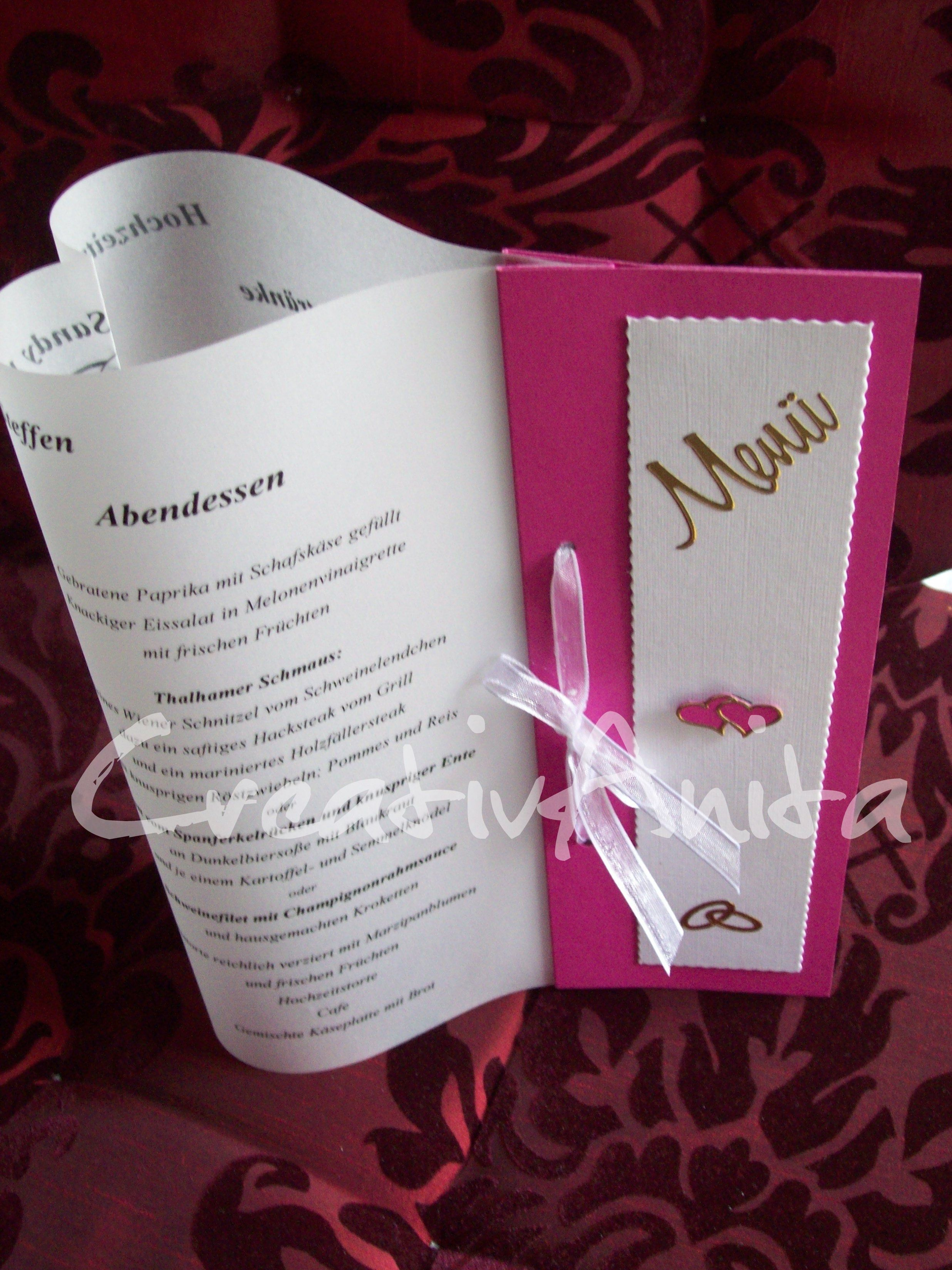 Tischkarten Glas Menükarte In Herzform! -pink-weiß- | Wedding Ideas
