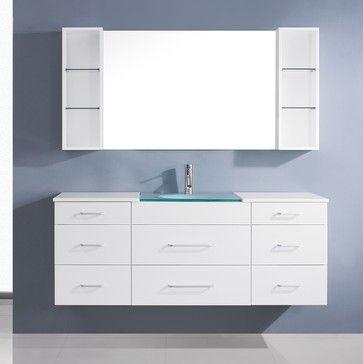 Virtu Usa Columbo 59 Inch White Single Sink Vanity Set