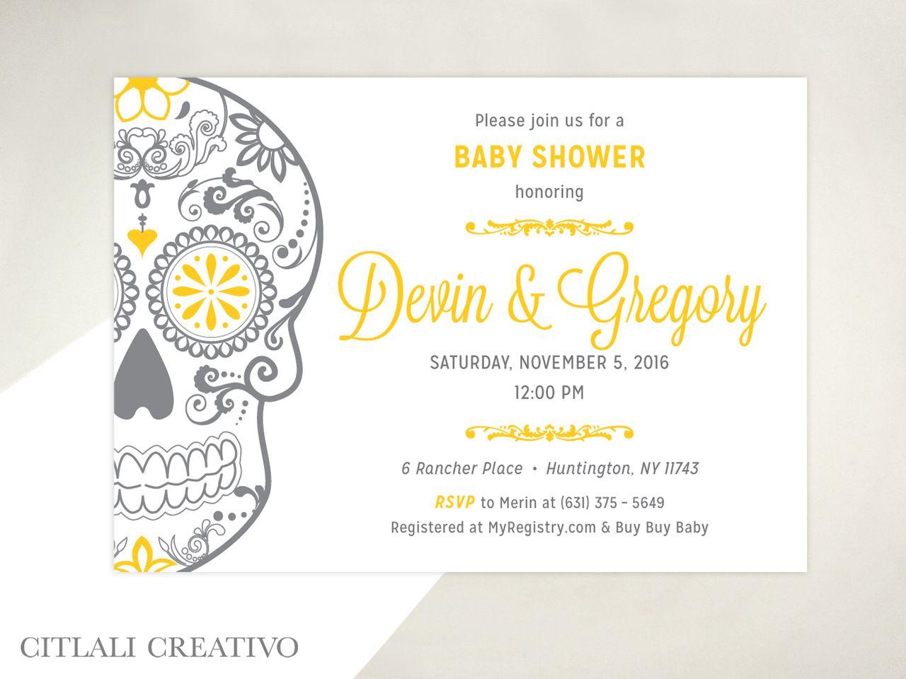 Golden Sugar Skull Baby Shower Invitations Sugar Skulls Shower