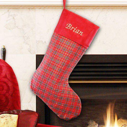 Personalized Plaid with Red Satin Trim Stocking Xmas ideas
