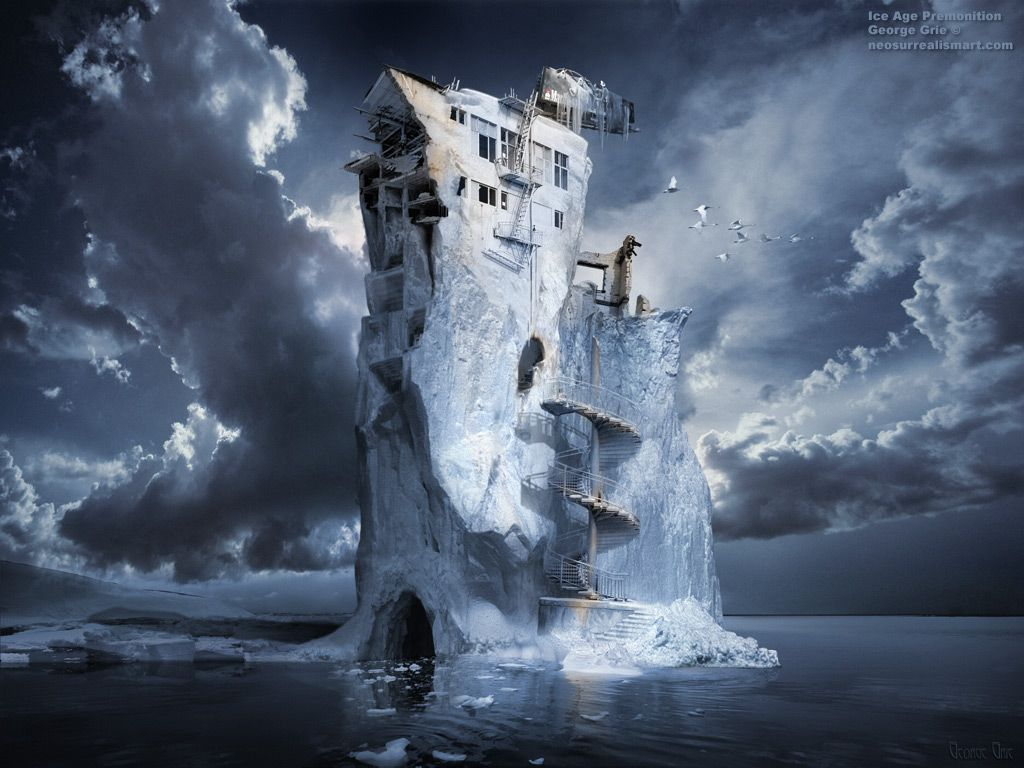 Ice Age Premonition or Infinite Iceberg Synthesizer 3D wallpaper. Keywords, ocean, ice, cold, floating, water, nature, overpass, billboard staircase, snow, winter, bridge, spiral forewarning intuition sign feeling blue, sea, chunks, iceberg, staircases,  fire escape, ladders, building,  stairs, escape, windows, architecture, damaged, breakdown, debris, ruins, destruction, destroyed, urban, decay, frigid