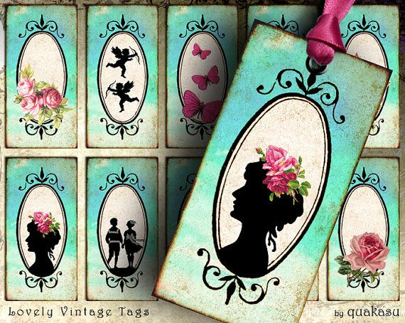 Lovely Vintage Tags - Instant Download - Digital Collage Sheet - Printable Tags - Digital Cards - Vintage Tags - atc - aceo - vintage cards
