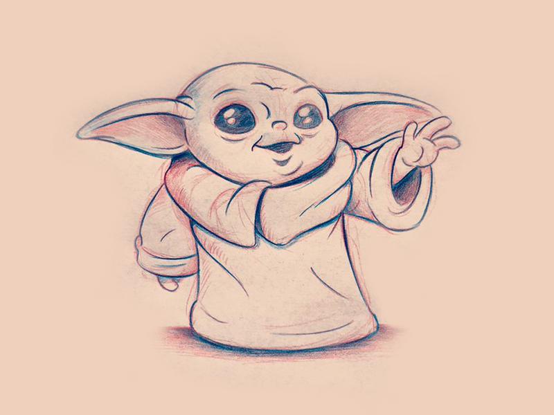 Baby Yoda Sketch With Images Star Wars Drawings Yoda Drawing