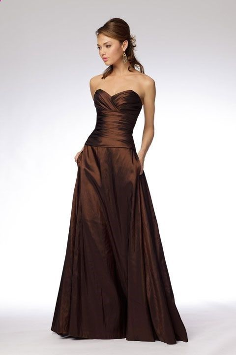 Fashionable A-line empire waist taffeta dress for bridesmaid