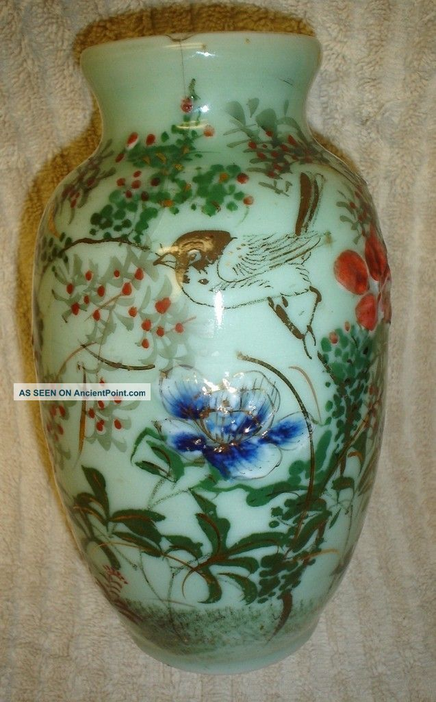 Antique Chinese Hand Painted Celadon