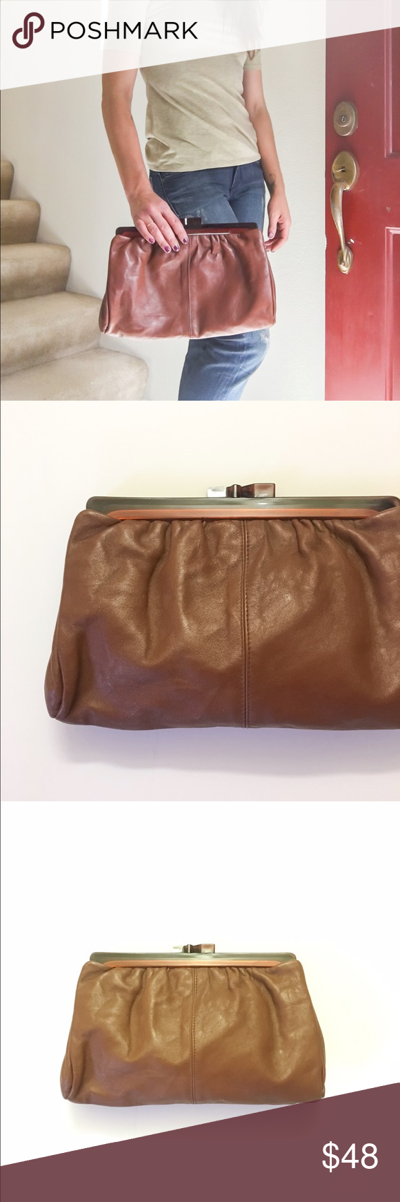 Vintage Oversized Leather Clutch Rad 1970's vintage leather clutch with a tortoise shell clip closure. The leather pleats at the top creating more volume to the bag (and room for your stuff 😉) Vintage Bags Clutches & Wristlets