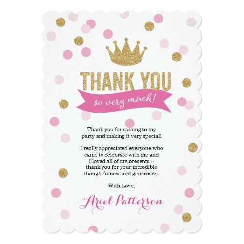 Girls 1st birthday party invitations thank you princess crown girls 1st birthday party invitations thank you princess crown glitter scalloped card stopboris Image collections