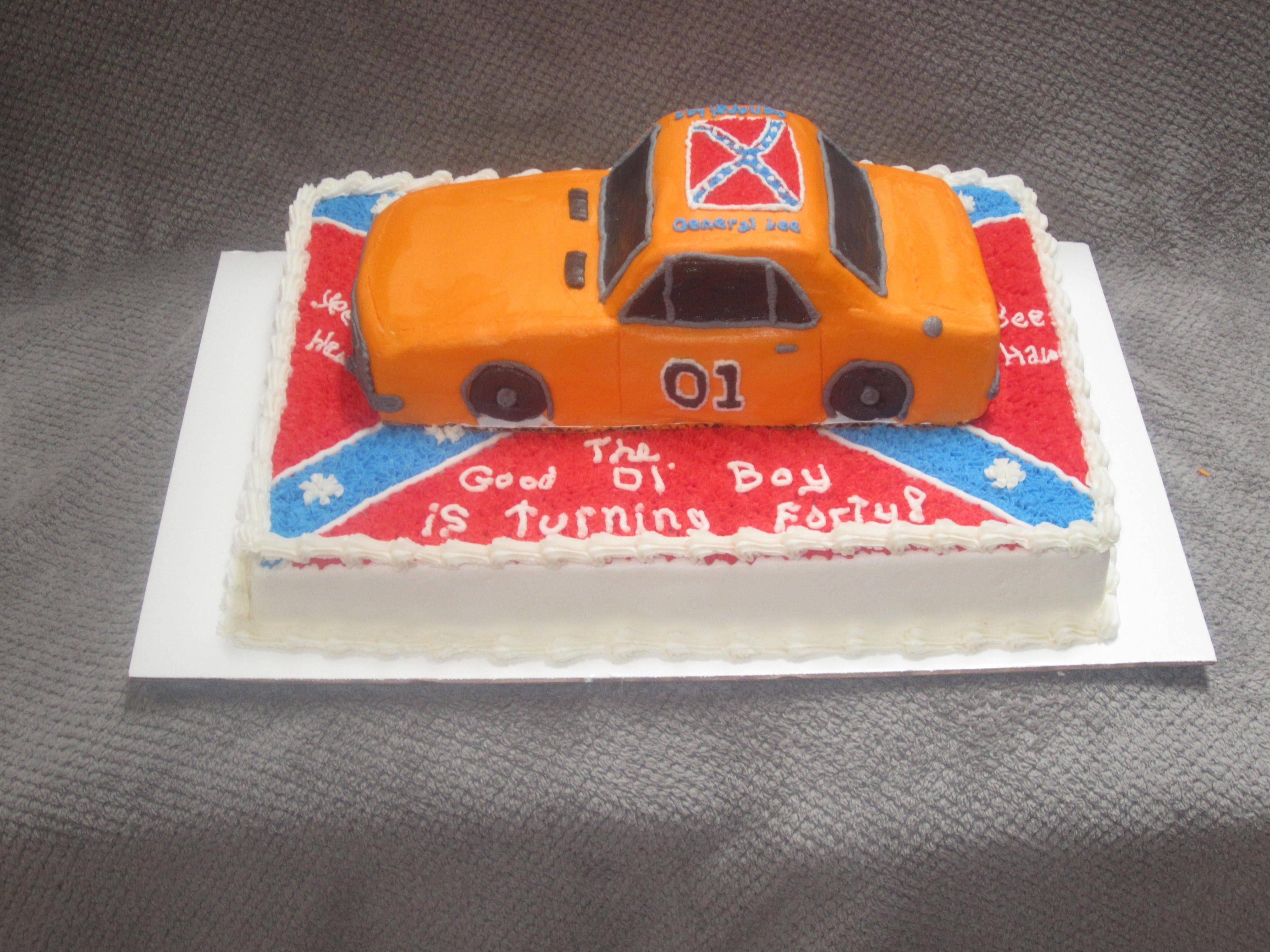 Dukes Of Hazzard Themed 40th Birthday Cake With 3 D General Lee On Top