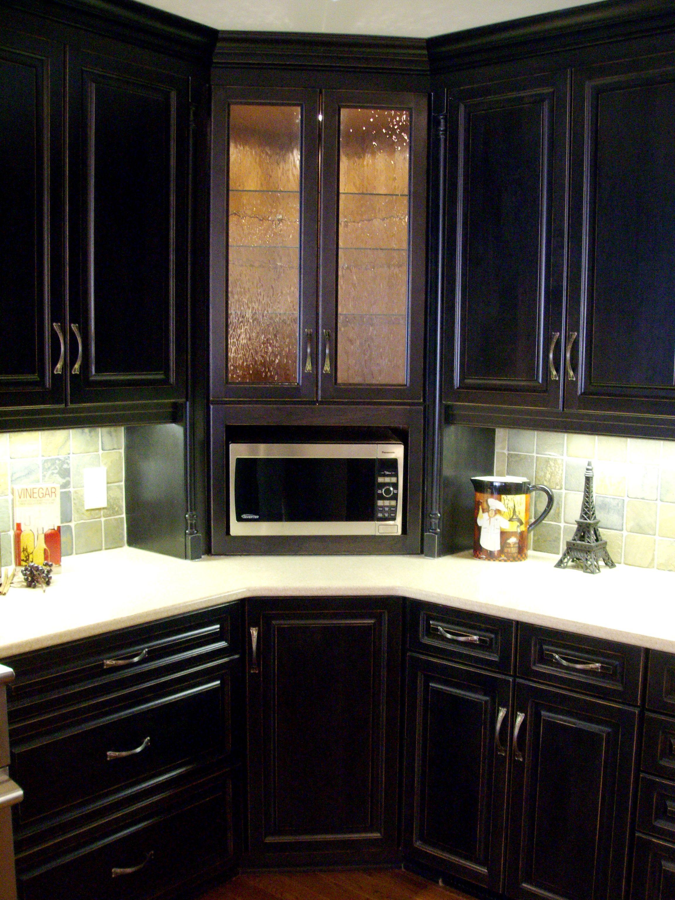 Corner builtin microwave with glass door upper