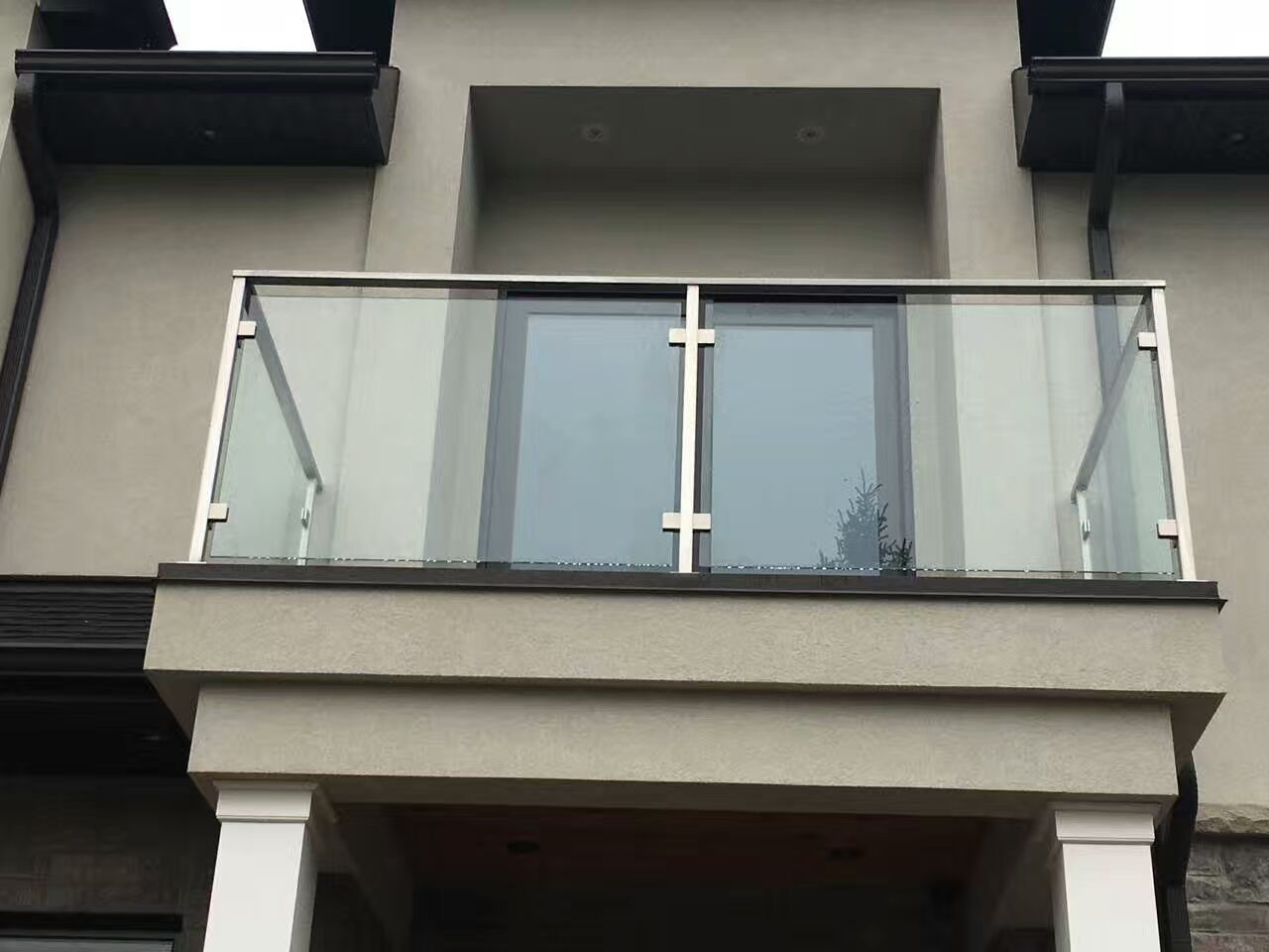 Stainless Steel Glass Railing Post Square Balcony Glass Design