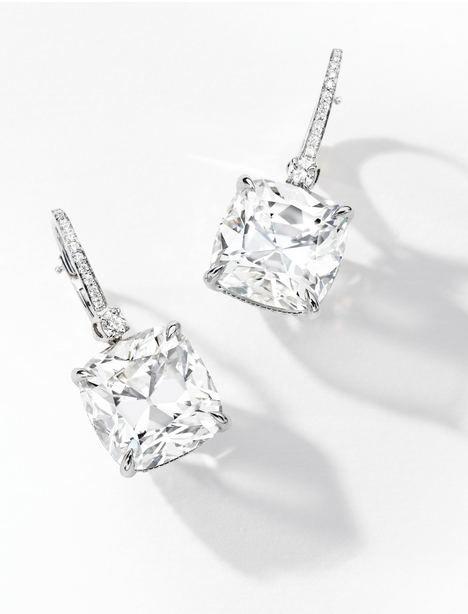 Pair Of Diamond Earrings Each Suspending A Cushion Shaped Weighing 10 82 And 42 Carats Respectively To Set Hook Surmount