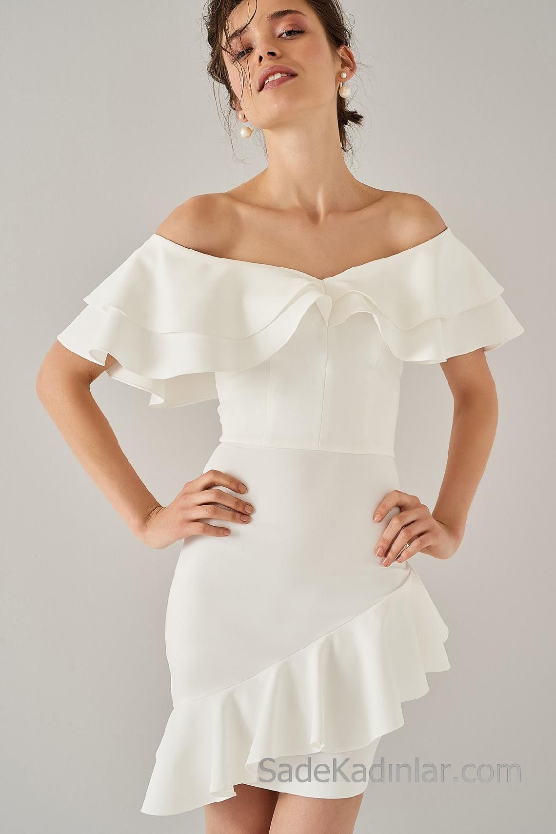 2020 Abiye Elbiseler Beyaz Kisa Omzu Acik Yakasi Genis Firfirli Elbiseler Elbise Kisa Elbise