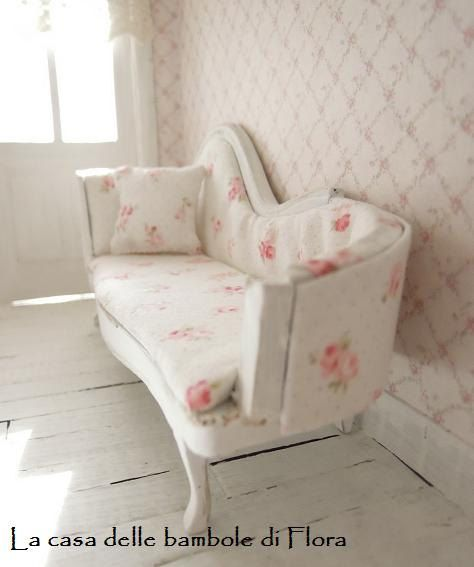 1:12 Dollhouse Miniature Doll Furniture Chic Flora Flower Sofa Armchair Couch \