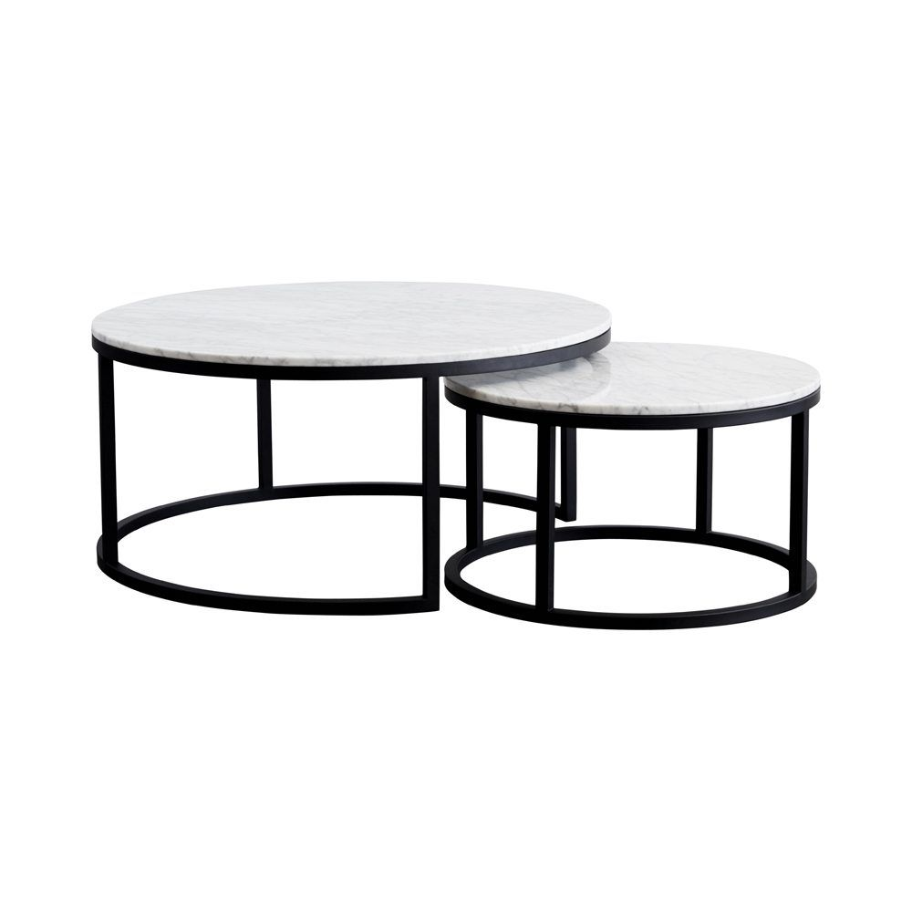 These Round Nesting Marble Coffee Tables Come With A Black Steel Metal Base And Are Modern Contemporary Solution For Any Living Room