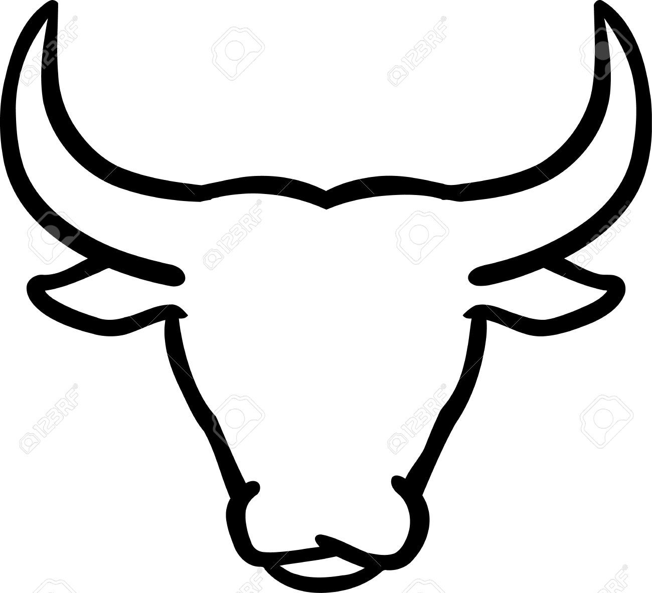 Stock Vector | Bull tattoos, Bull painting, Outline drawings