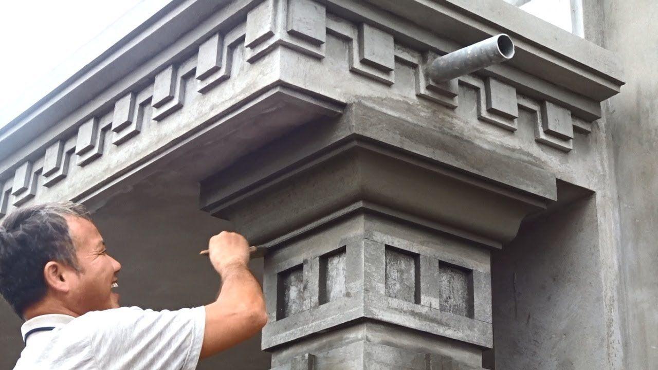 Amazing Techniques Rendering Sand And Cement To Concrete Columns Build Cement Design House Outside Design Concrete Column