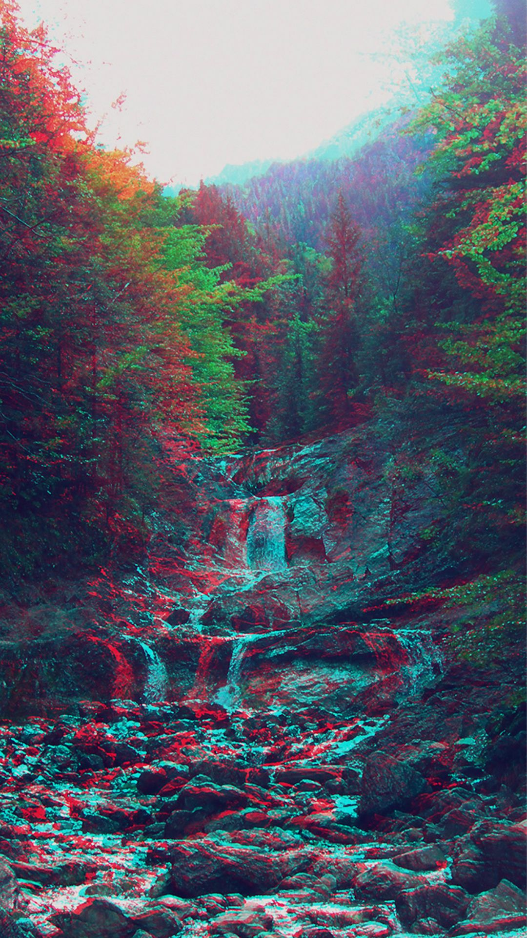 Anaglyph Mountain Green Nature Art iPhone 8 Wallpapers