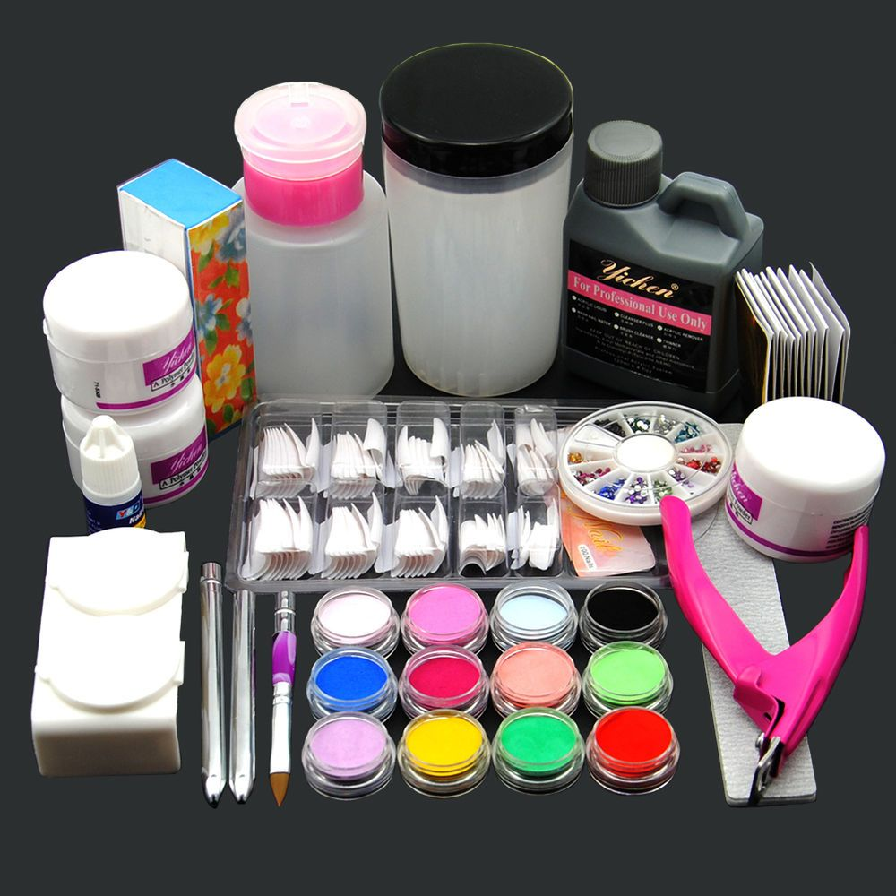 Acrylic Liquid Powder Half French Nail Art Tips Pump File Clipper