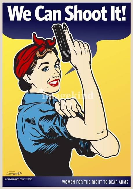 """""""We Can Shoot It!"""" by Liberty Maniacs, Minnesota // Our version of the famous """"We Can Do It!"""" woman by J. Howard Miller, commonly mistaken to be Rosie the Riveter.  What's better than a strong, independent, free woman packing heat?   // Imagekind.com -- Buy stunning, museum-quality fine art prints, framed prints, and canvas prints directly from independent working artists and photographers."""