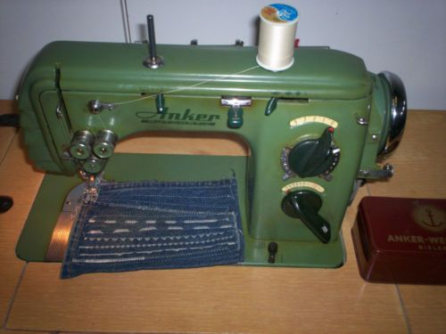 RARE Anker Automatic Sewing Machine Oak Desk Chair Accessories Gorgeous German Sewing Machines Brands