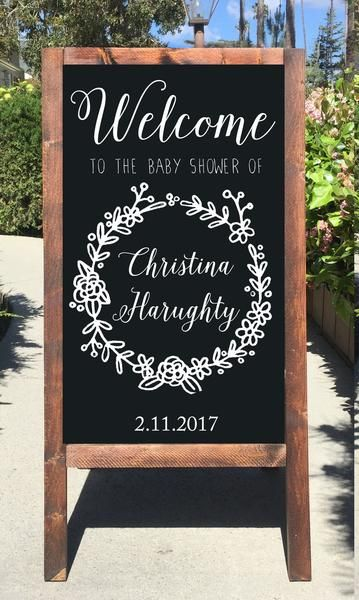 This Beautiful Welcome To Our Baby Shower Chalkboard Sign Will Look  Stunning At Your Baby Shower! It Is All Hand Crafted And Hand Painted With  Permanent ...