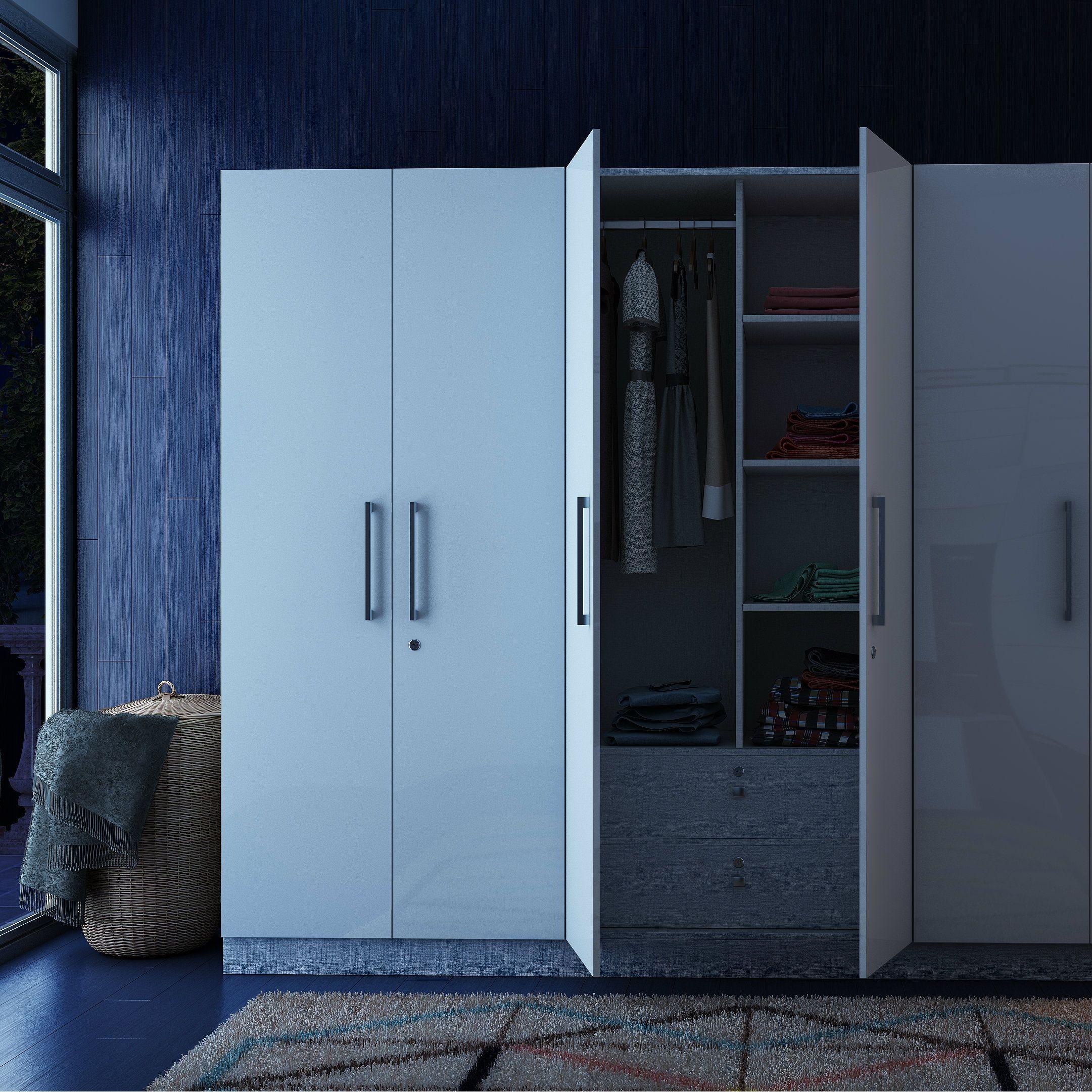 Smart white modular wardrobe with plenty of storage options ...