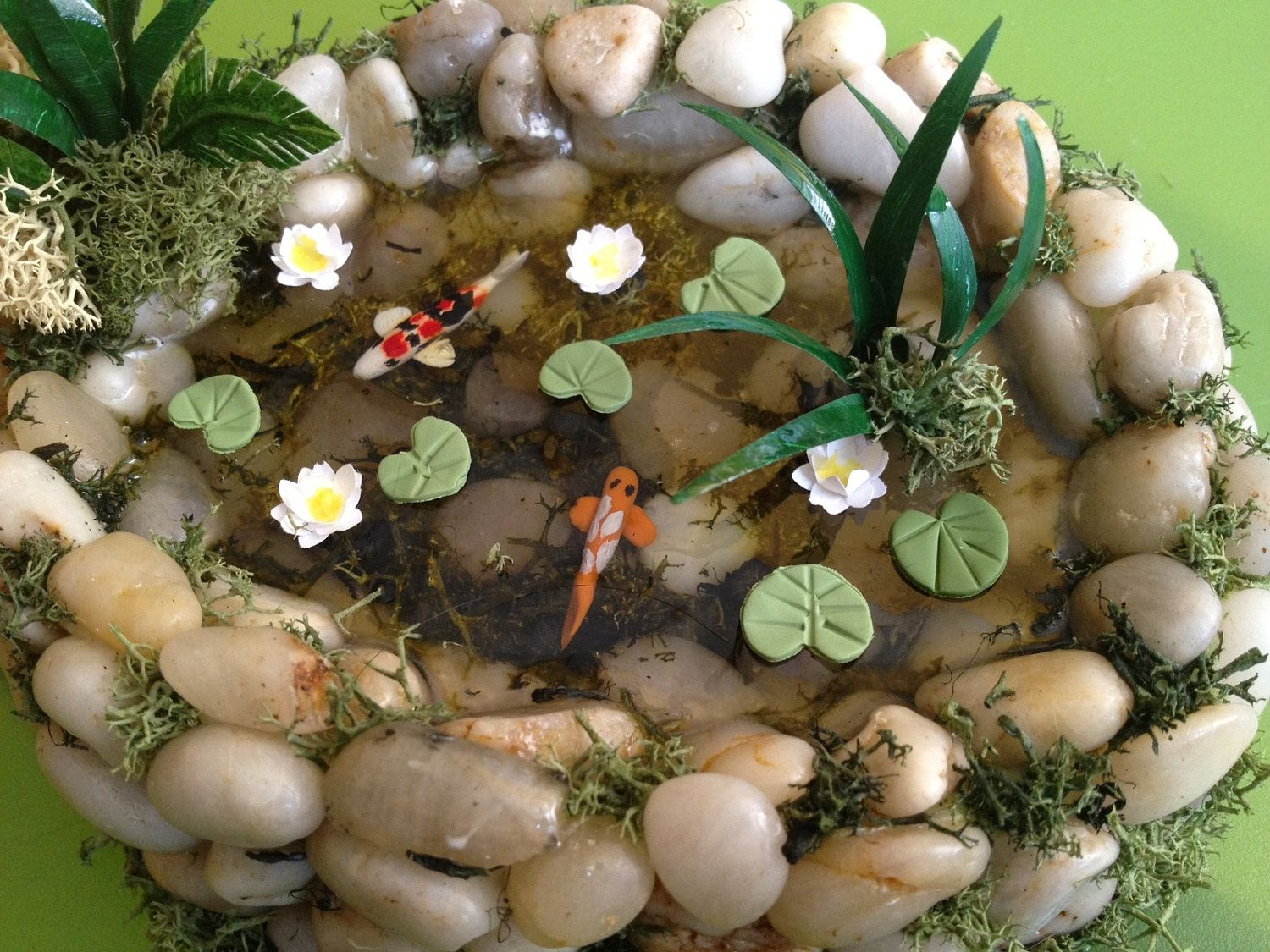 Miniature fish ponds koi pond dollhouse miniature with for Mini koi fish