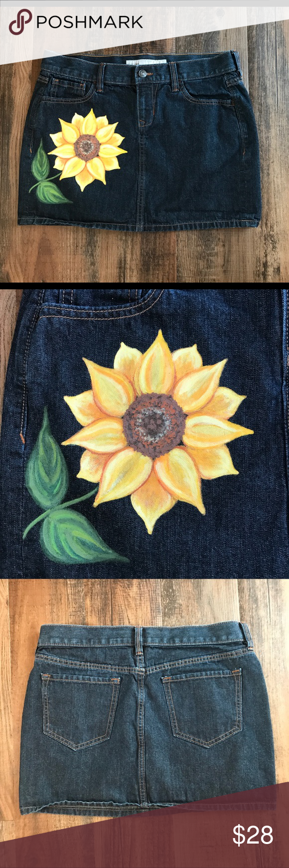 Old Navy Denim Skirt With Hand Painted Sunflower Upcycled