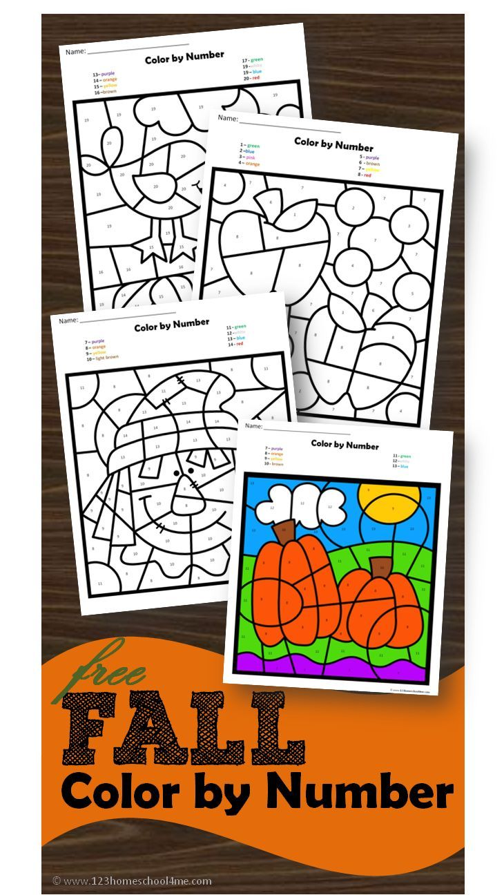 Free Fall Color By Number Fall Kindergarten Fall Math Fall Worksheets [ 1296 x 730 Pixel ]