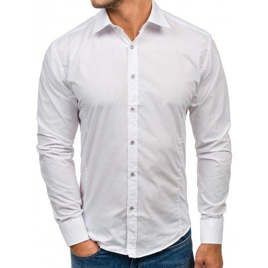 Elegantní pánské slim fit košile bílé barvy  8a046c909f