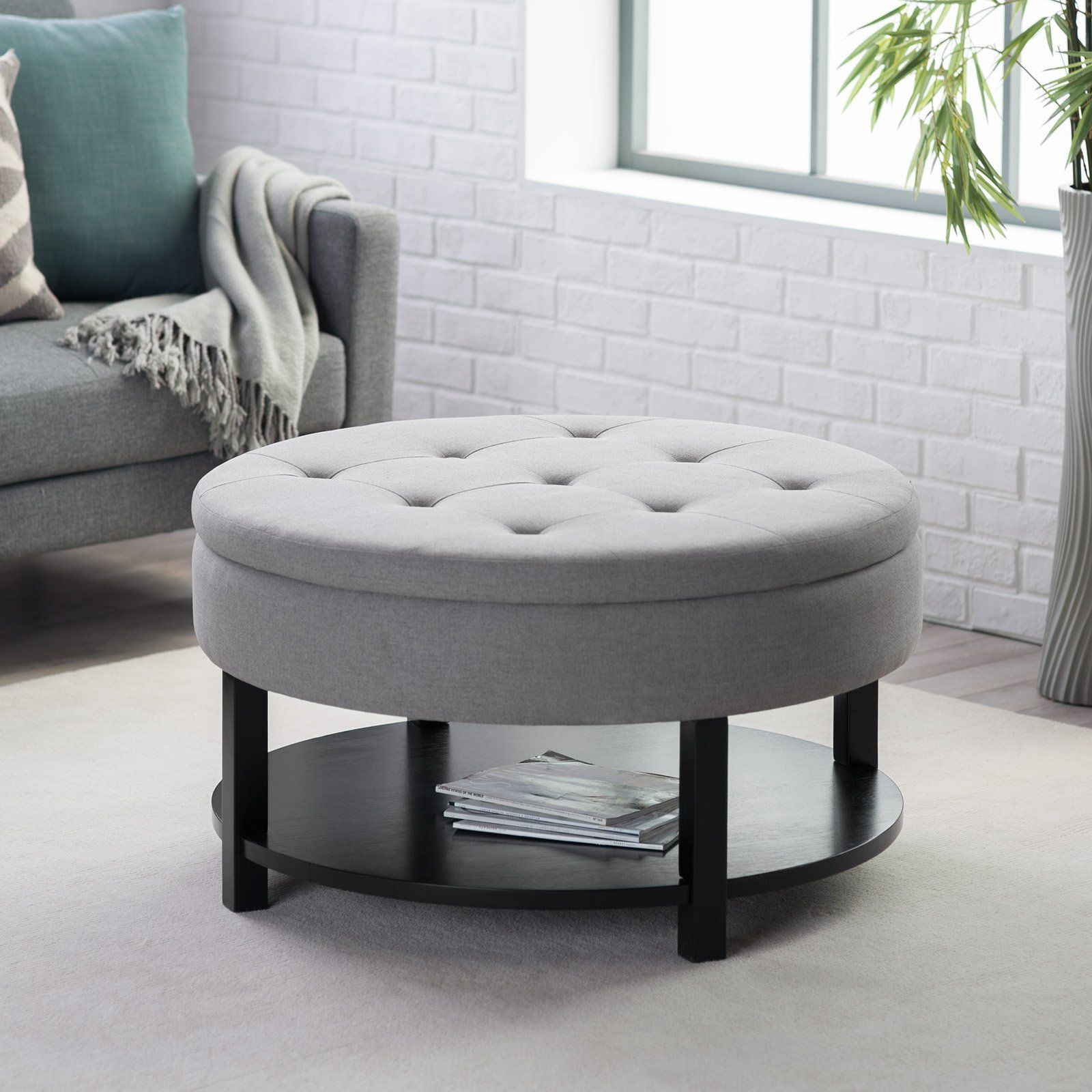 Ottoman Belham Living Dalton Coffee Table Round Tufted Storage With Tray Shelf Ottomans At Hayneedle