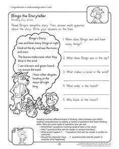 Worksheets Printable Reading Comprehension Worksheets For 2nd Grade bingo the storyteller 2nd grade reading and comprehension worksheet