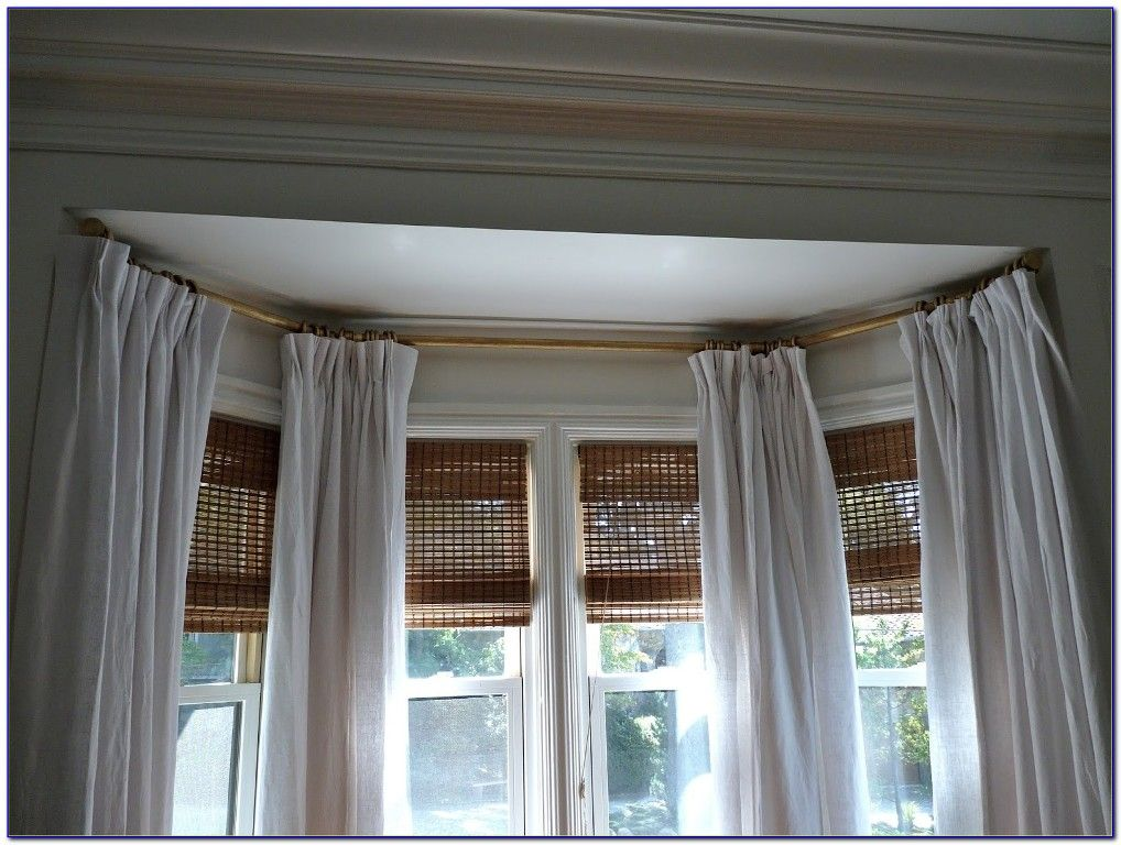 Interior Popular Bay Window Curtain Rods Curved Also Flexible Bay