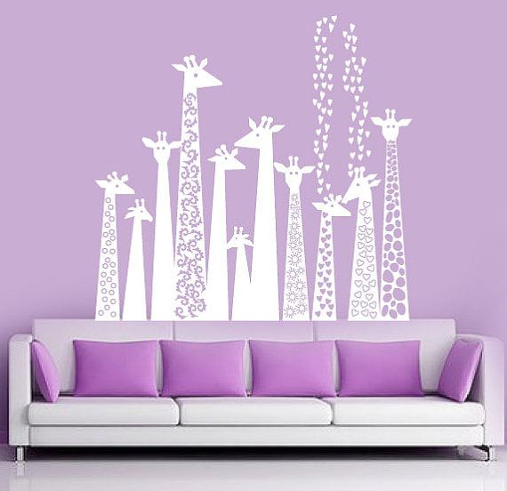 Decal Wall   White Giraffe Silhouette   Childrens Wall Decal   Wall Vinyl  Stickers. $98.00