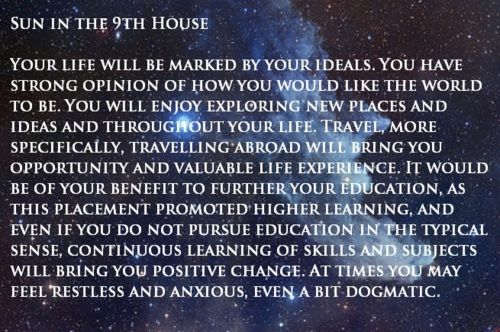 SUN in the 9th House | Astrology | Astrology houses, Sidereal